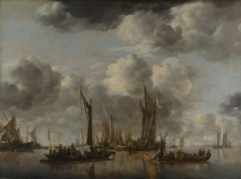 A Shipping Scene with a Dutch Yacht firing a Salute | Jan van de Cappelle | oil painting