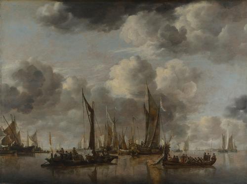 A Shipping Scene with a Dutch Yacht firing a Salute   Jan van de Cappelle   oil painting