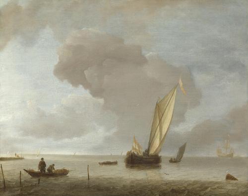 A Small Dutch Vessel before a Light Breeze | Jan van de Cappelle | oil painting