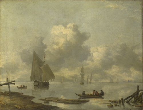 Vessels in Light Airs on a River near a Town | Jan van de Cappelle | oil painting