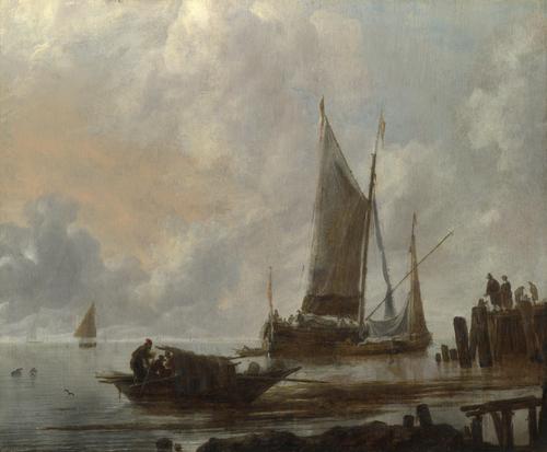 Vessels Moored off a Jetty | Jan van de Cappelle | oil painting
