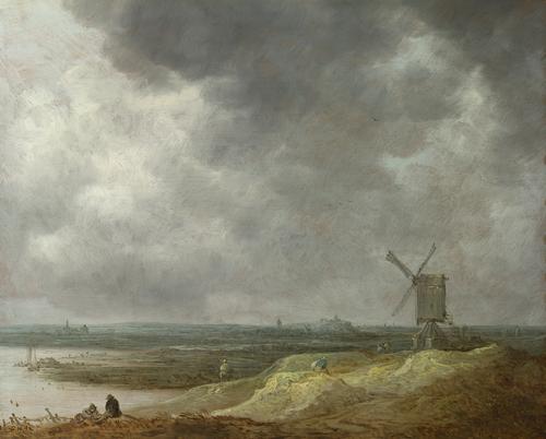 A Windmill by a River   Jan van Goyen   oil painting
