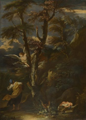 An Angel appears to Hagar and Ishmael in the Desert | After Salvator Rosa | oil painting
