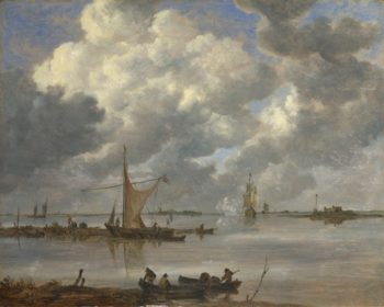 An Estuary with Fishing Boats and Two Frigates | Jan van Goyen | oil painting