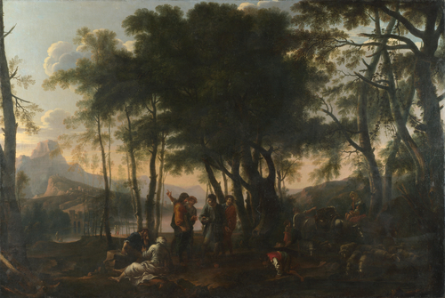 The Philosophers' Wood   After Salvator Rosa   oil painting