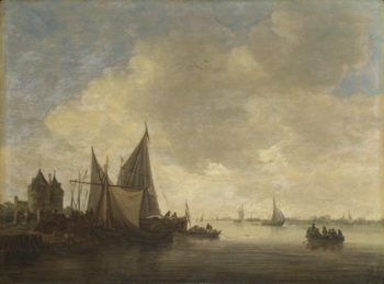 The Mouth of an Estuary with a Gateway   Jan van Goyen   oil painting