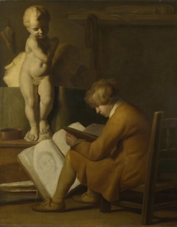 A Boy seated Drawing | After Wallerant Vaillant | oil painting