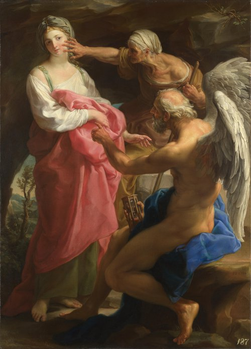 Time orders Old Age to destroy Beauty | Pompeo Girolamo Batoni | oil painting