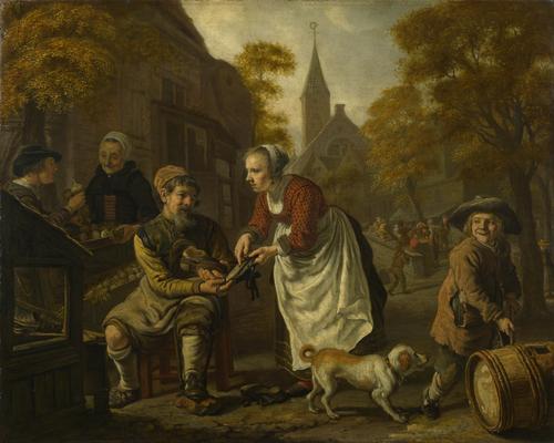 A Village Scene with a Cobbler | Jan Victors | oil painting