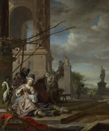 An Italian Courtyard   Jan Weenix   oil painting