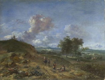A Landscape with a High Dune and Peasants on a Road | Jan Wijnants | oil painting