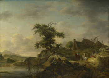A Landscape with a Farm on the Bank of a River | Jan Wouwermans | oil painting