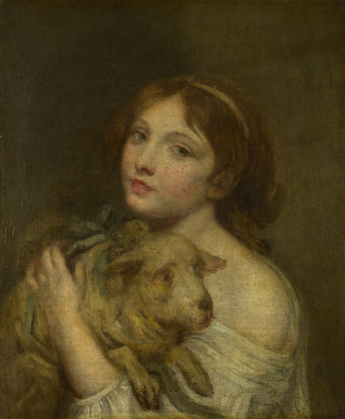 A Girl with a Lamb | Jean-Baptiste Greuze | oil painting
