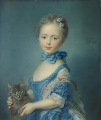 A Girl with a Kitten | Jean-Baptiste Perronneau | oil painting