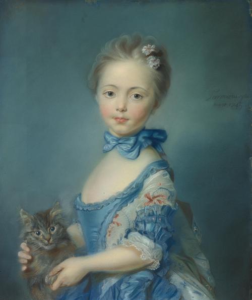 A Girl with a Kitten | Jean-Baptiste Perronneau | oil painting