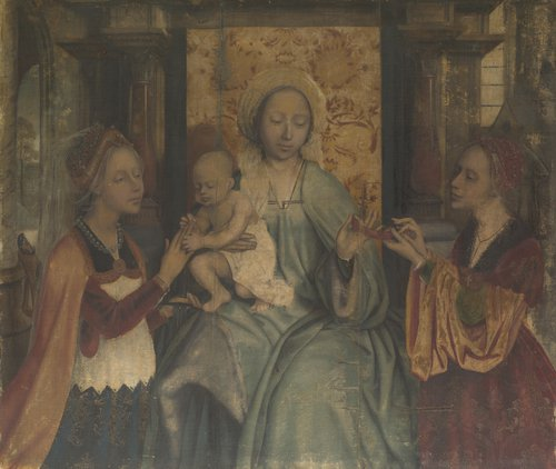 The Virgin and Child with Saints Barbara and Catherine | Quinten Massys | oil painting