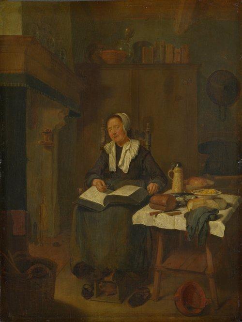 A Woman Asleep by a Fire   Quiringh van Brekelenkam   oil painting