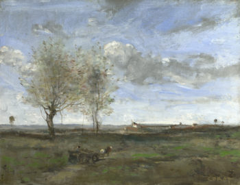 A Wagon in the Plains of Artois | Jean-Baptiste-Camille Corot | oil painting