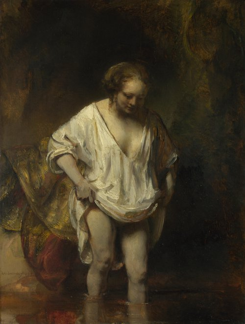 A Woman bathing in a Stream (Hendrickje Stoffels) | Rembrandt | oil painting