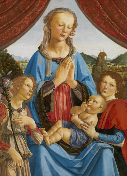 The Virgin and Child with Two Angels | Andrea del Verrocchio and assistant (Lorenzo di Credi) | oil painting