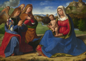 The Virgin and Child adored by Two Angels | Andrea Previtali | oil painting