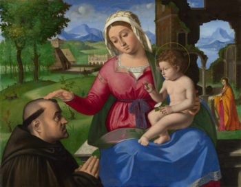 The Virgin and Child with a Supplicant | Andrea Previtali | oil painting