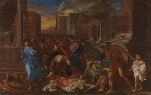 The Plague at Ashdod (after Poussin)   Angelo Caroselli   oil painting