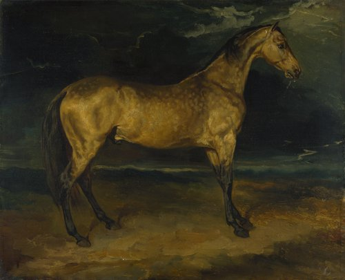 A Horse frightened by Lightning | Jean-Louis-Andre-Theodore Gericault | oil painting
