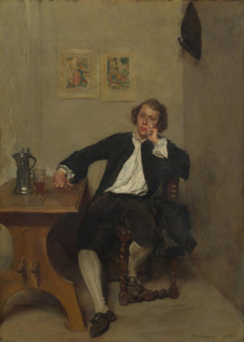 A Man in Black smoking a Pipe | Jean-Louis-Ernest Meissonier | oil painting