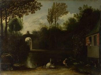 A Garden Scene with Waterfowl | Anthonie van Borssum | oil painting