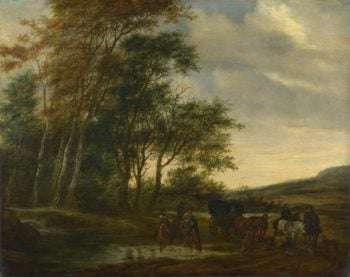 A Landscape with a Carriage and Horsemen at a Pool | Salomon van Ruysdael | oil painting