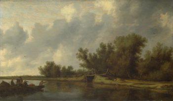 A River Landscape with Fishermen   Salomon van Ruysdael   oil painting