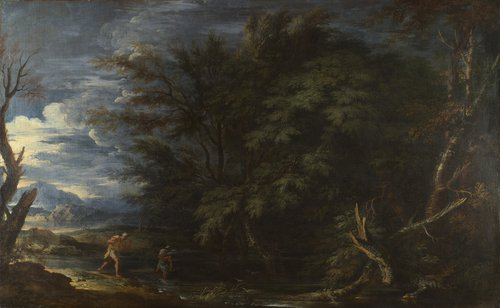 Landscape with Mercury and the Dishonest Woodman | Salvator Rosa | oil painting