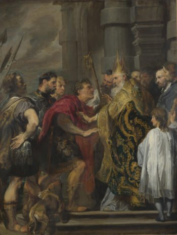 St Ambrose barring Theodosius from Milan Cathedral | Anthony van Dyck | oil painting