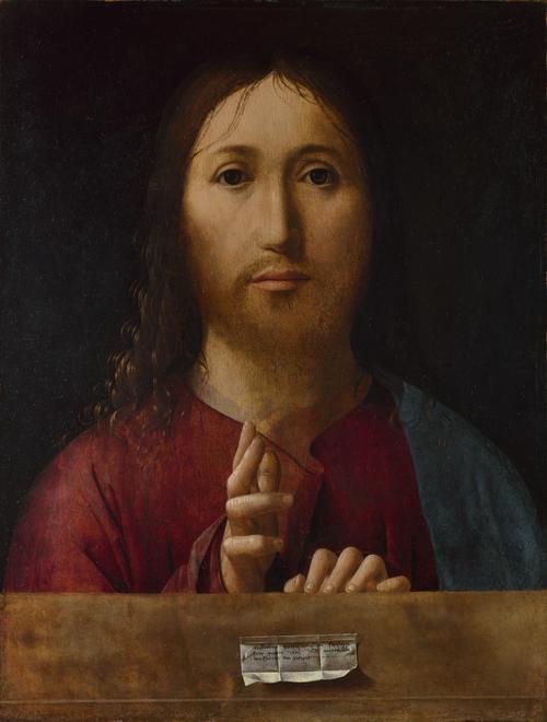 Christ Blessing   Antonello da Messina   oil painting