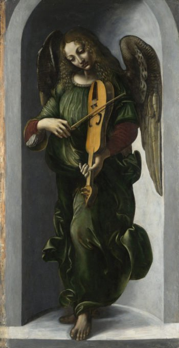 An Angel in Green with a Vielle | Associate of Leonardo da Vinci | oil painting