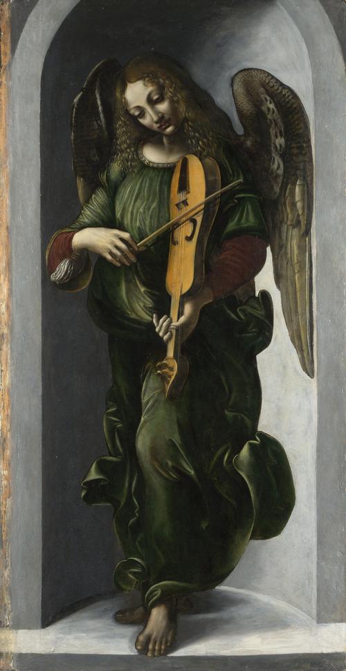 An Angel in Green with a Vielle | Associate of Leonardo da Vinci | oil painting