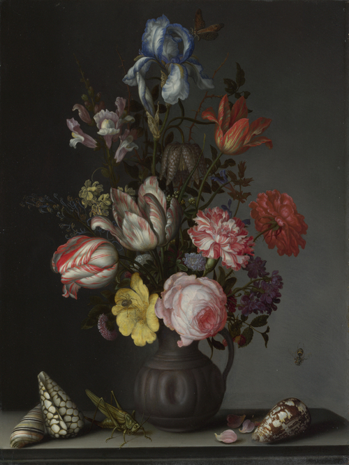 Flowers in a Vase with Shells and Insects | Balthasar van der Ast | oil painting