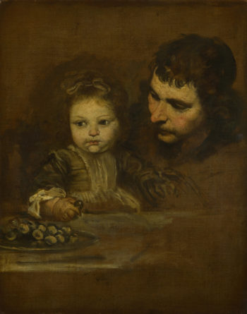 A Man and a Child eating Grapes | Spanish | oil painting