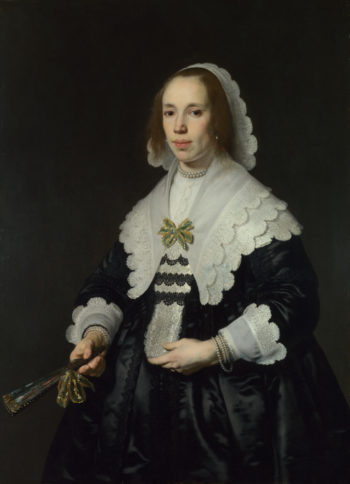 Portrait of a Lady in Black Satin with a Fan | Bartholomeus van der Helst | oil painting
