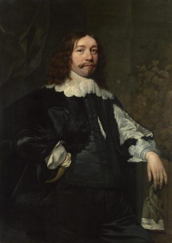 Portrait of a Man in Black holding a Glove | Bartholomeus van der Helst | oil painting