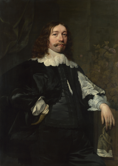 Portrait of a Man in Black holding a Glove | Bartholomeus van der Helst | oil painting