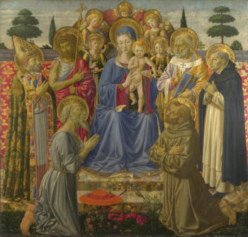 The Virgin and Child Enthroned among Angels and Saints | Benozzo Gozzoli | oil painting
