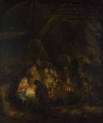 The Adoration of the Shepherds | Studio of Rembrandt | oil painting