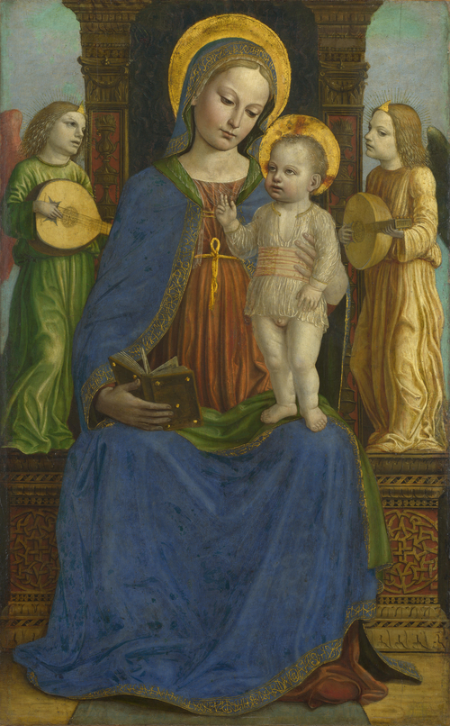 The Virgin and Child with Two Angels | Bernardino Bergognone | oil painting