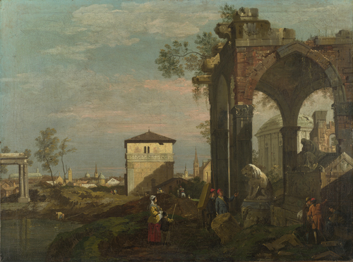 A Caprice Landscape with Ruins   Style of Bernardo Bellotto   oil painting
