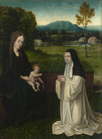 The Virgin and Child with a Cistercian Nun | Style of Joachim Patinir | oil painting