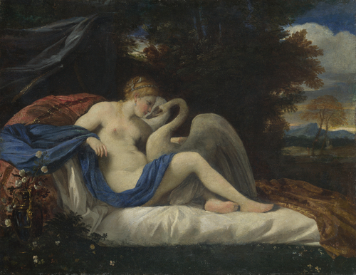 Leda and the Swan   Style of Pier Francesco Mola   oil painting