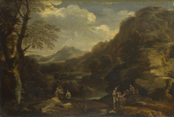 Mountainous Landscape with Figures | Style of Salvator Rosa | oil painting
