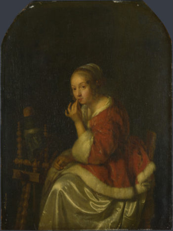 A Lady at a Spinning-wheel | Caspar Netscher | oil painting